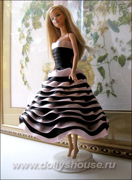 Платье для куклы из атласной ленты своими руками 5